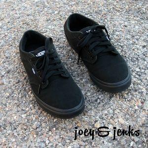 Men's Vans Black Canvas Lace Up Sneakers Shoes 10